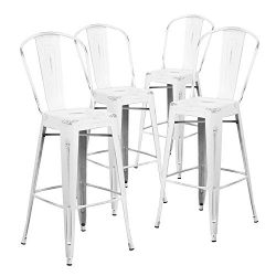 Nicemoods Metal Bar Stools Indoor-Outdoor Chairs,Modern High Backrest Industrial Metal Barstool, ...