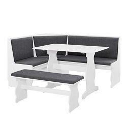 Riverbay Furniture Breakfast Nook Set in Charcoal