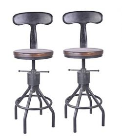 LOKKHAN Set of 2 Industrial Bar Stool-Adjustable Swivel Wood Metal Bar Stool,Extra Tall Farmhous ...