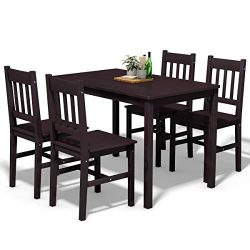 Giantex 5 Piece Wood Dining Table Set 4 Chairs Solid Construction Home Kitchen Breakfast Furnitu ...