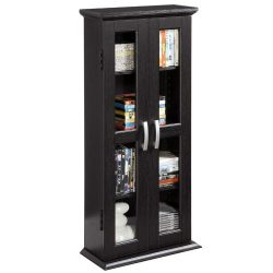 Walker Edison 41″ Wood Media Storage Accent Cabinet with Glass Doors, Black