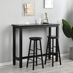 GLCHQ 3 Piece Pub Table Set with Solid Metal Frame, Industrial Dining Table with 2 Chairs for Ki ...