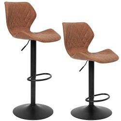 SUPERJARE Set of 2 Adjustable Bar Stools, PU Leather Swivel Barstool Chairs with Back, Pub Kitch ...