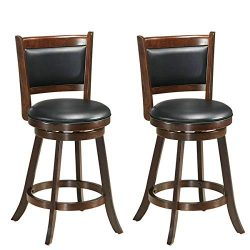 COSTWAY Set of 2 Dining Chair Accent Wooden Swivel Back Bar Height Stool, Fabric Upholstered 360 ...