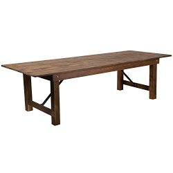 Flash Furniture HERCULES Series 9′ x 40″ Rectangular Antique Rustic Solid Pine Foldi ...