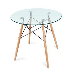 Nidouillet Round Glass Dining Table, Coffee Desk with 4 Beech Wood Legs for Kitchen Living Room  ...