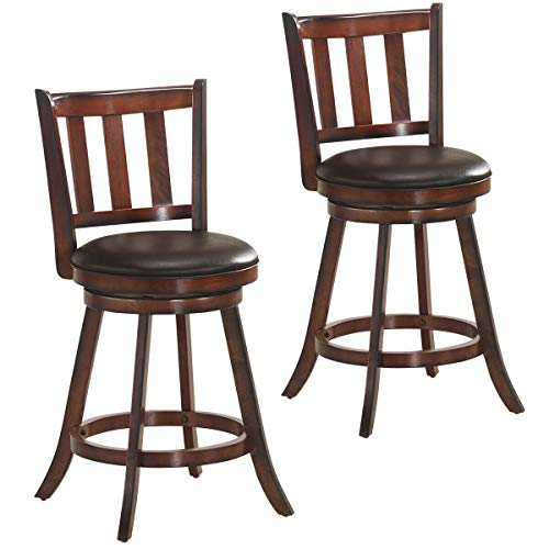 COSTWAY Bar Stools Set of 2, Counter Height Dining Chair, Fabric Upholstered 360 Degree Swivel,  ...