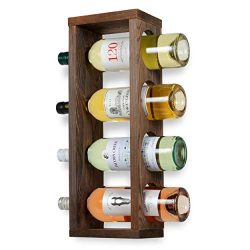 Rustic State Sonoma Wood Wine Rack Wall Mounted Bottle Holder, Holds 4 Bottles