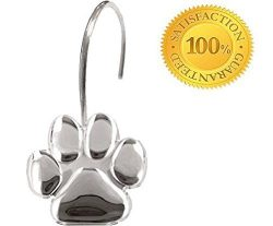 Paw Print – Shower Curtain Hooks, Polished Chrome,, Includes a Set of 12 – Give Your ...