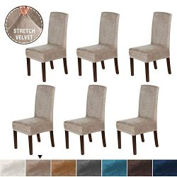 H.VERSAILTEX Original Velvet Stretch Dining Room Chair Covers Velvet Plush Removable Washable Ki ...
