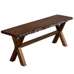 The Mezzanine Shoppe 26318BWN Mandeville Mid Century Wooden Dining Bench, 47.6″, Brown