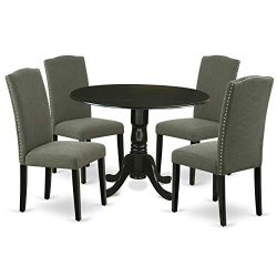 East West Furniture 5Pc Round 42″ Kitchen Table With Two 9-Inch Drop Leaves And Four Parso ...