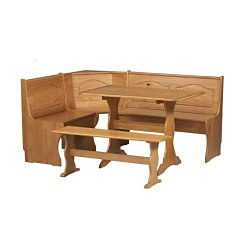 Essential Furniture Decor Kitchen Corner Nook Solid Wood Corner Dining Breakfast Set Table Bench ...