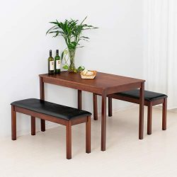 mecor 3-Piece Dining Set Table w/ 2 Padded Benches, Solid Wood Tabletop and PU Leather Benches f ...