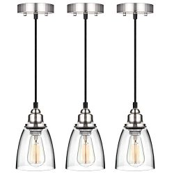 Industrial Mini Pendant Lighting, Clear Glass Shade Hanging Light Fixture, Brushed Nickel, Adjus ...