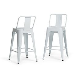 Simpli Home AXCRAY24-01-WH Rayne Industrial Metal 24 inch Counter Height Stool (Set of 2) in White