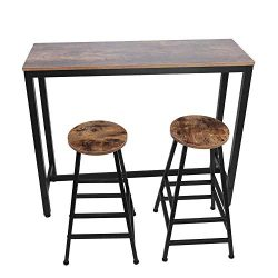 POCREATION Vintage 3-Piece Pub Table Set,Counter Height Dining Table with 2 Bar Stools,Wood Bist ...