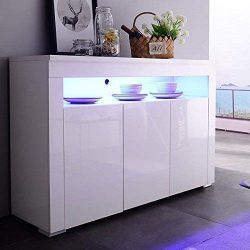 mecor Kitchen Buffet Cabinet,High Gloss LED Sideboard,Storage Server Table with 3 Doors and Open ...