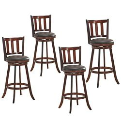 COSTWAY Bar Stools Set of 4, Counter Height Dining Chair, Fabric Upholstered 360 Degree Swivel,  ...