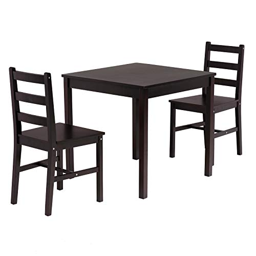mecor 3 PC Wood Dining Set, Wooden Kitchen Table Set with 2 Chairs (Black)