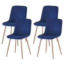 FOODAGE Modern Dining Chairs Set of 4, Velvet Upholstered Side Chairs with Metal Legs, Gorgeous  ...