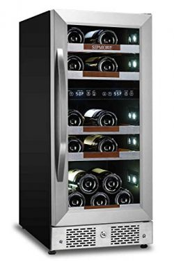 "Sipmore Wine Cooler Refrigerator 15"" Dual Zone 21 Multi Sized Bottle Built-in or Freestand ..."