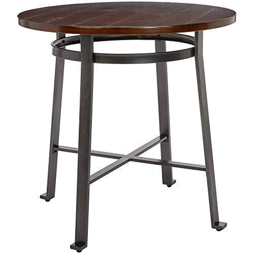 Ball & Cast Fremont Metal-and-Wood Counter-Height Bar Table, Rustic Brown