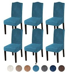 Turquoize Armless Chair Slip Covers for Dining Room Velvet Dining Room Chair Slipcovers Sets Was ...