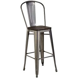 Pioneer Square Midvale 30-Inch Bar-Height Metal Stool with Back Rest, Set of 2, Silver Gray