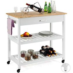 Giantex Kitchen Island Cart Multipurpose Rolling Trolley Large Wood Cart with Drawer, 2 Shelves, ...