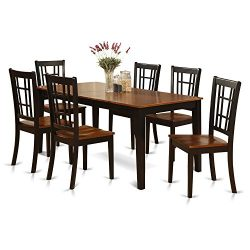 East West Furniture 7-Piece Formal Dining Table Set, Black/Cherry Finish