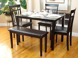 Rattan Wicker Furniture Dining Kitchen Set of 5 Pcs Rectangular Table and 3 Wooden Chairs Warm 1 ...