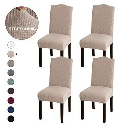 Turquoize Stretch Dining Chair Slipcovers Jacquard Removable Washable Kitchen Parson Chair Prote ...