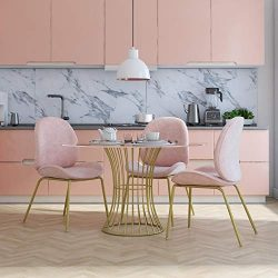 CosmoLiving by Cosmopolitan Astor Upholstered Dining, Pink Velvet with Brass Metal Leg Chair