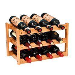RIIPOO 12-Bottle Wine Rack, 3-Tier Nature Bamboo Wine Display Rack, Free Standing and Countertop ...