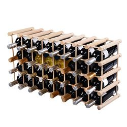 Giantex 40 Bottle Wine Rack Wine Bottle Display Shelves Wood Stackable Storage Stand Wobbly-Free ...