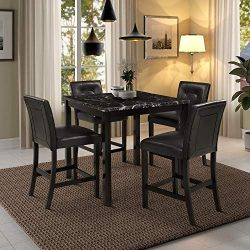 Harper & Bright Designs 5-Piece Kitchen Table Set Brown Marble Top Counter Height Dining Tab ...