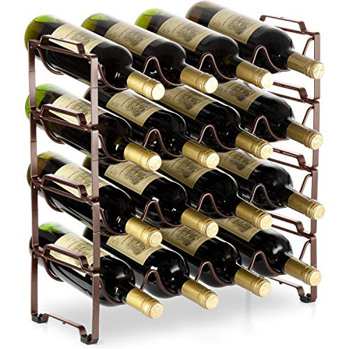 Bextsware 4 Tiers Stackable Metal Wine Rack, 16 Bottles Freestanding Holder Organizer Storage fo ...