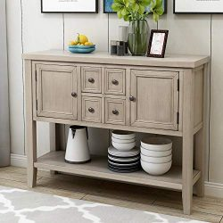 P PURLOVE Console Table Buffet Sideboard with Storage Drawers Cabinets and Bottom Shelf (Retro Grey)