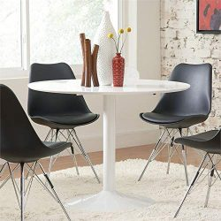 BOWERY HILL Modern 40″ Round Dining Table Tulip Pedestal in White