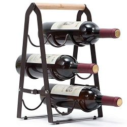 KINGRACK Countertop Wine Rack, Tabletop Wood Wine Holder for 6 Bottle Wine, 3-Tier Classic Desig ...