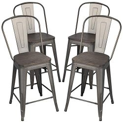 Yaheetech 24″ Seat Height Tolix Style Dining Stools Chairs with Wood Seat/Top and High Bac ...