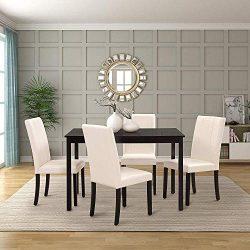 Harper&Bright Designs Dining Table Set Kitchen Dining Table Set Wooden Table and 4 PU Leathe ...