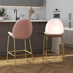 CosmoLiving by Cosmopolitan Astor Upholstered Counter, Pink Velvet with Brass Metal Leg Bar Stool