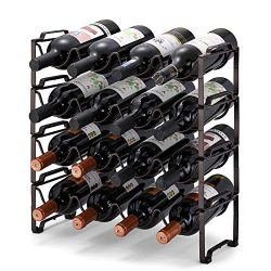Simple Trending 4-Tier Stackable Wine Rack, Standing Bottles Holder Organizer, Wine Storage Shel ...
