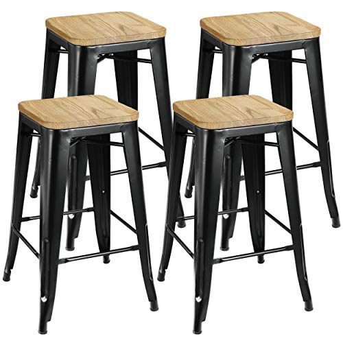 ZENY Set of 4 Metal Bar Stools 26″ Counter Height with Wooden Seat Stackable Indoor/Outdoo ...
