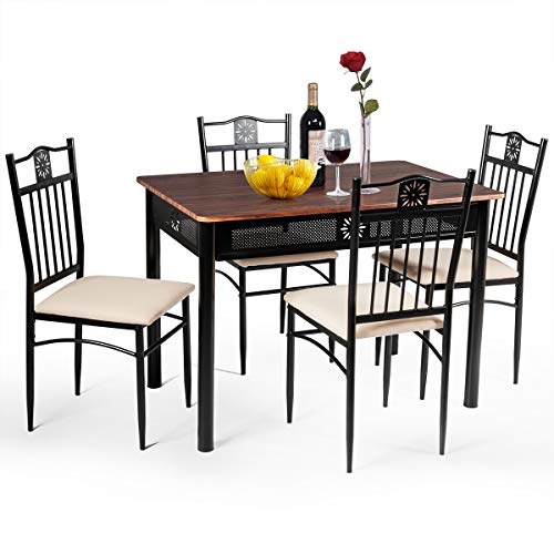 Tangkula 5 Pieces Dining Table and Chairs Set, Vintage Retro Wood Top Metal Frame Padded Seat Di ...