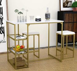 Modern 3 Piece Counter Dining Table Set with 2 Bar Stools and Metal Frame and Shelf Storage,Bras ...