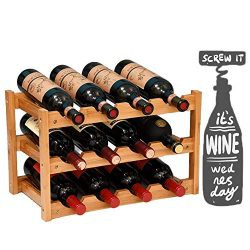 Fostersource Wine Rack, Natural Bamboo Storage Rack Freestanding Countertop Stackable Display Sh ...