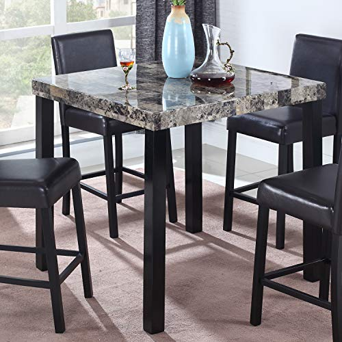 Best Master Furniture CD037 Britney Transitional Faux Marble Top Counter Table, Espresso Finish
